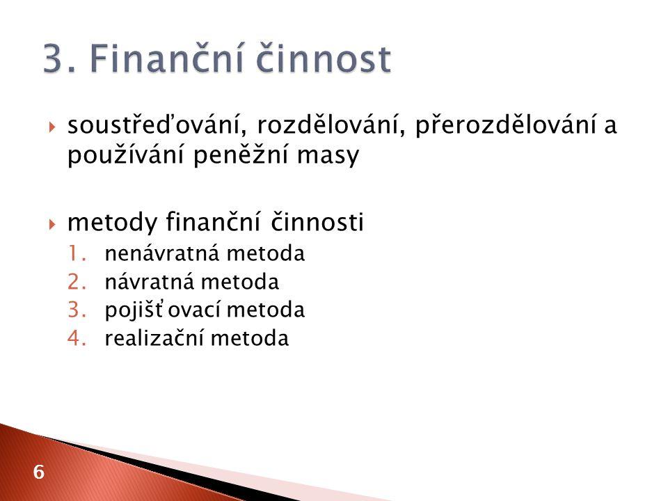  soustřeďování, rozdělování, přerozdělování a používání peněžní masy  metody finanční činnosti 1.nenávratná metoda 2.návratná metoda 3.pojišťovací metoda 4.realizační metoda 6