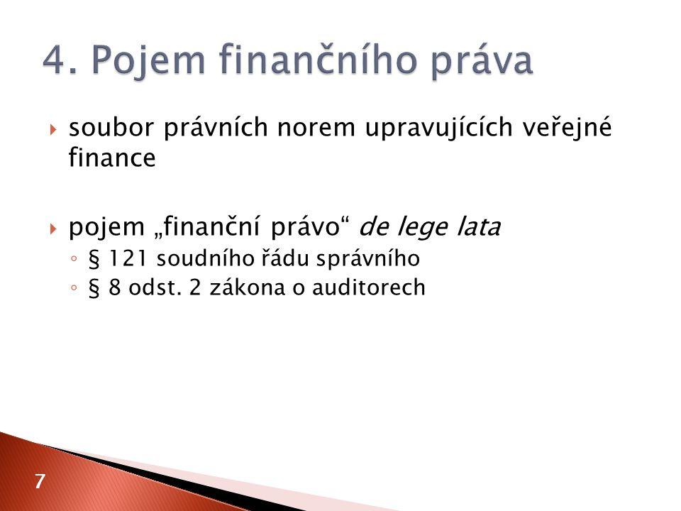 """ soubor právních norem upravujících veřejné finance  pojem """"finanční právo"""" de lege lata ◦ § 121 soudního řádu správního ◦ § 8 odst. 2 zákona o audi"""