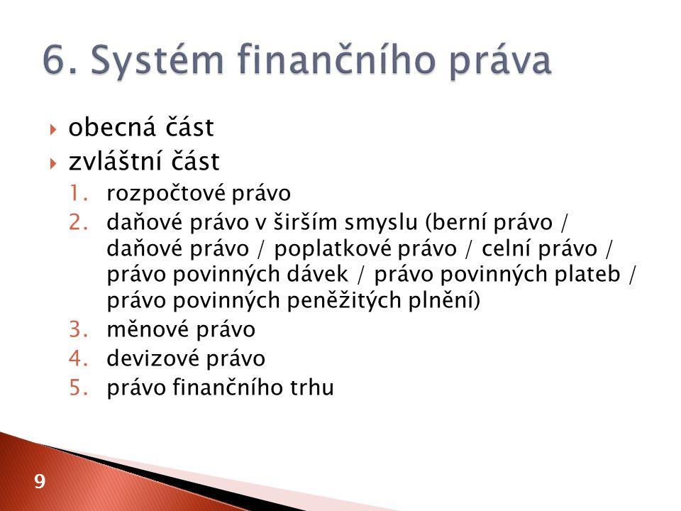 obecná část  zvláštní část 1.rozpočtové právo 2.daňové právo v širším smyslu (berní právo / daňové právo / poplatkové právo / celní právo / právo povinných dávek / právo povinných plateb / právo povinných peněžitých plnění) 3.měnové právo 4.devizové právo 5.právo finančního trhu 9