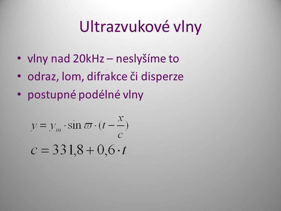 Ultrazvukové vlny vlny nad 20kHz – neslyšíme to odraz, lom, difrakce či disperze postupné podélné vlny