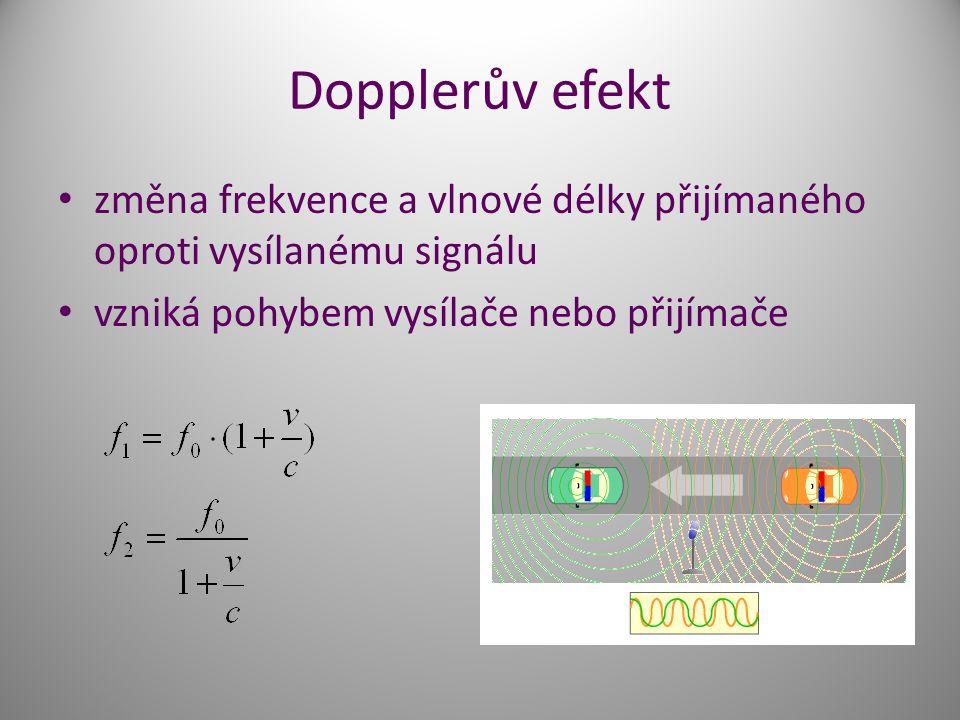 Dopplerův efekt změna frekvence a vlnové délky přijímaného oproti vysílanému signálu vzniká pohybem vysílače nebo přijímače