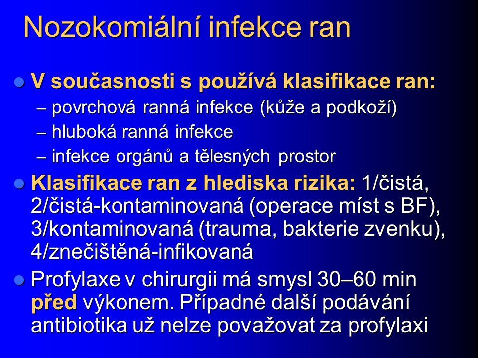 Nozokomiální infekce ran V současnosti s používá klasifikace ran: V současnosti s používá klasifikace ran: – povrchová ranná infekce (kůže a podkoží)