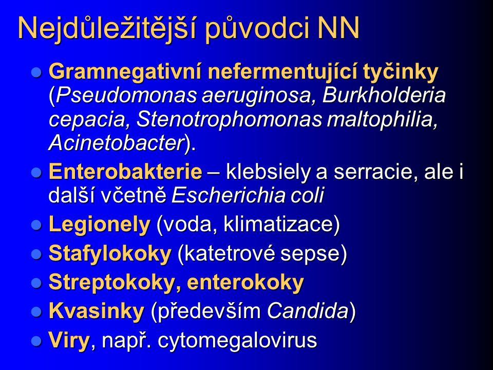Nejdůležitější původci NN Gramnegativní nefermentující tyčinky (Pseudomonas aeruginosa, Burkholderia cepacia, Stenotrophomonas maltophilia, Acinetobac