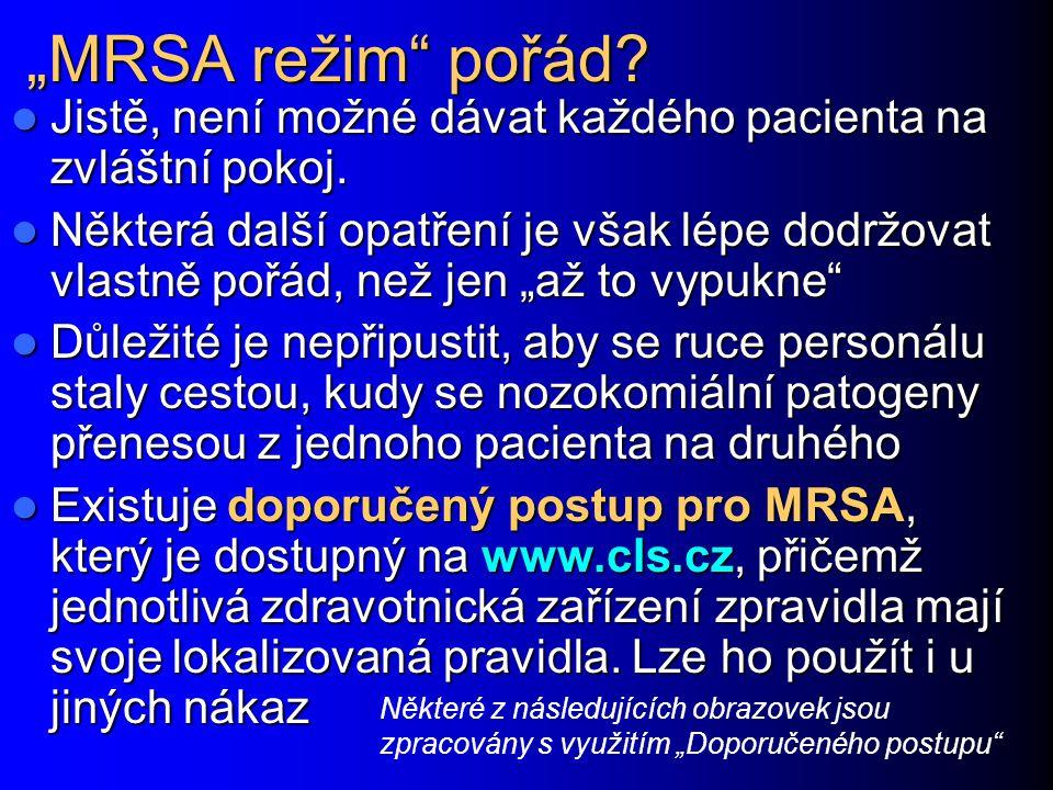 """""""MRSA režim"""" pořád? Jistě, není možné dávat každého pacienta na zvláštní pokoj. Jistě, není možné dávat každého pacienta na zvláštní pokoj. Některá da"""