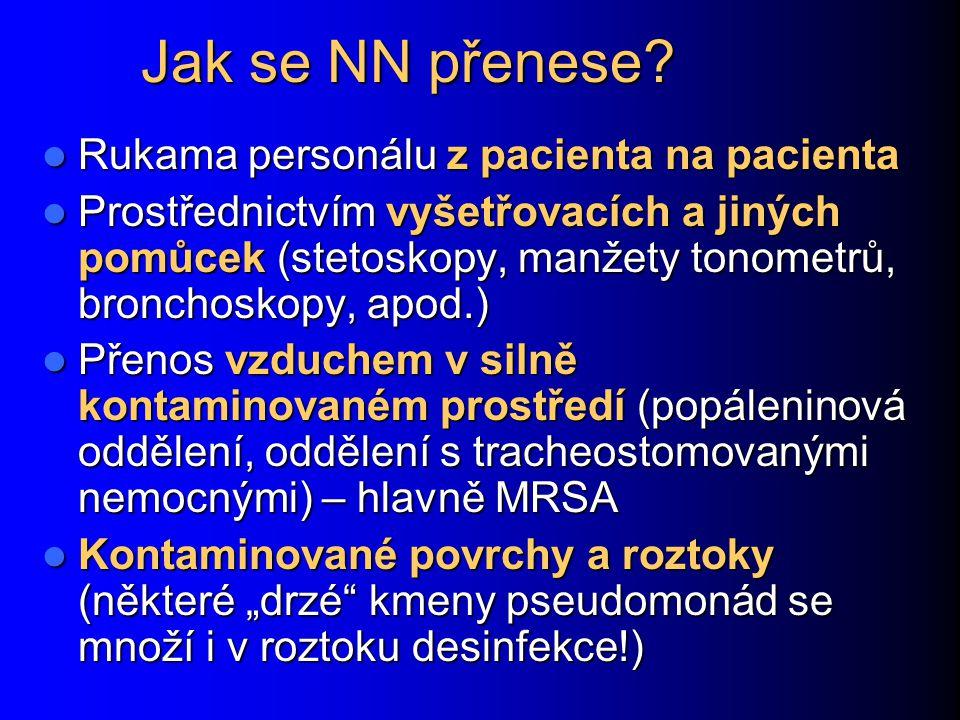 Jak se NN přenese? Rukama personálu z pacienta na pacienta Rukama personálu z pacienta na pacienta Prostřednictvím vyšetřovacích a jiných pomůcek (ste
