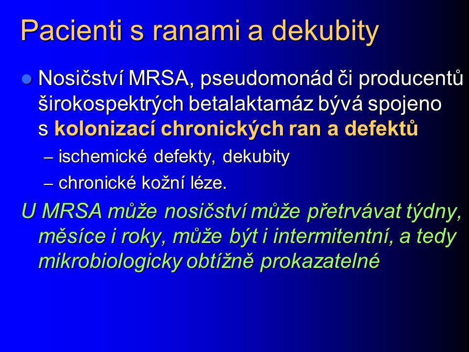 Pacienti s ranami a dekubity Nosičství MRSA, pseudomonád či producentů širokospektrých betalaktamáz bývá spojeno s kolonizací chronických ran a defekt
