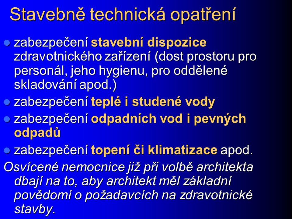 Stavebně technická opatření zabezpečení stavební dispozice zdravotnického zařízení (dost prostoru pro personál, jeho hygienu, pro oddělené skladování