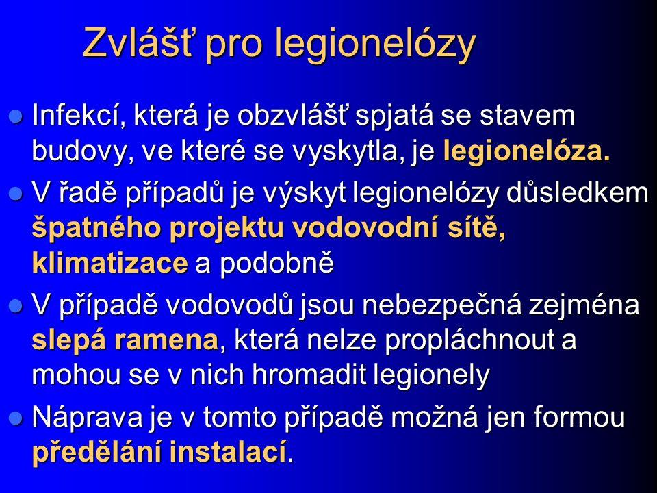 Zvlášť pro legionelózy Infekcí, která je obzvlášť spjatá se stavem budovy, ve které se vyskytla, je legionelóza. Infekcí, která je obzvlášť spjatá se