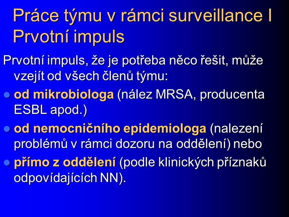 Práce týmu v rámci surveillance I Prvotní impuls Prvotní impuls, že je potřeba něco řešit, může vzejít od všech členů týmu: od mikrobiologa (nález MRS