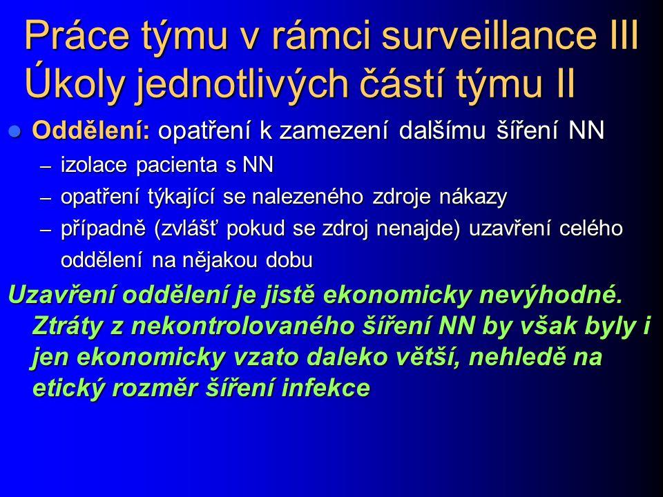 Práce týmu v rámci surveillance III Úkoly jednotlivých částí týmu II Oddělení: opatření k zamezení dalšímu šíření NN Oddělení: opatření k zamezení dal