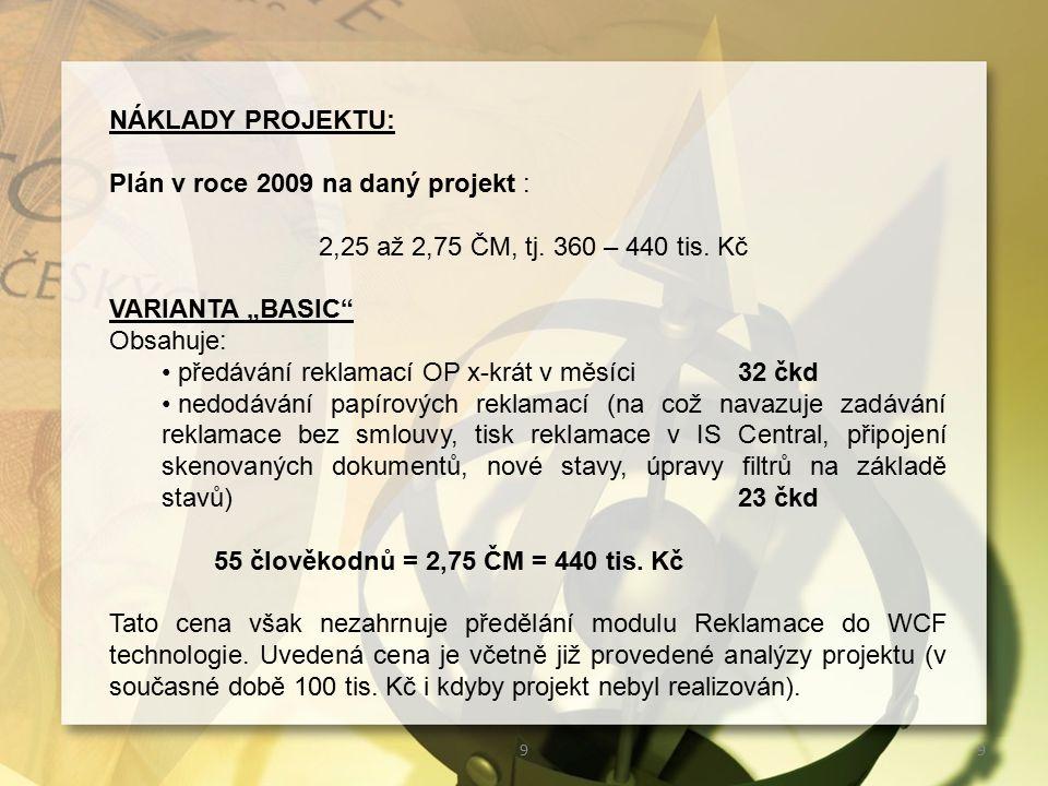 99 NÁKLADY PROJEKTU: Plán v roce 2009 na daný projekt : 2,25 až 2,75 ČM, tj.