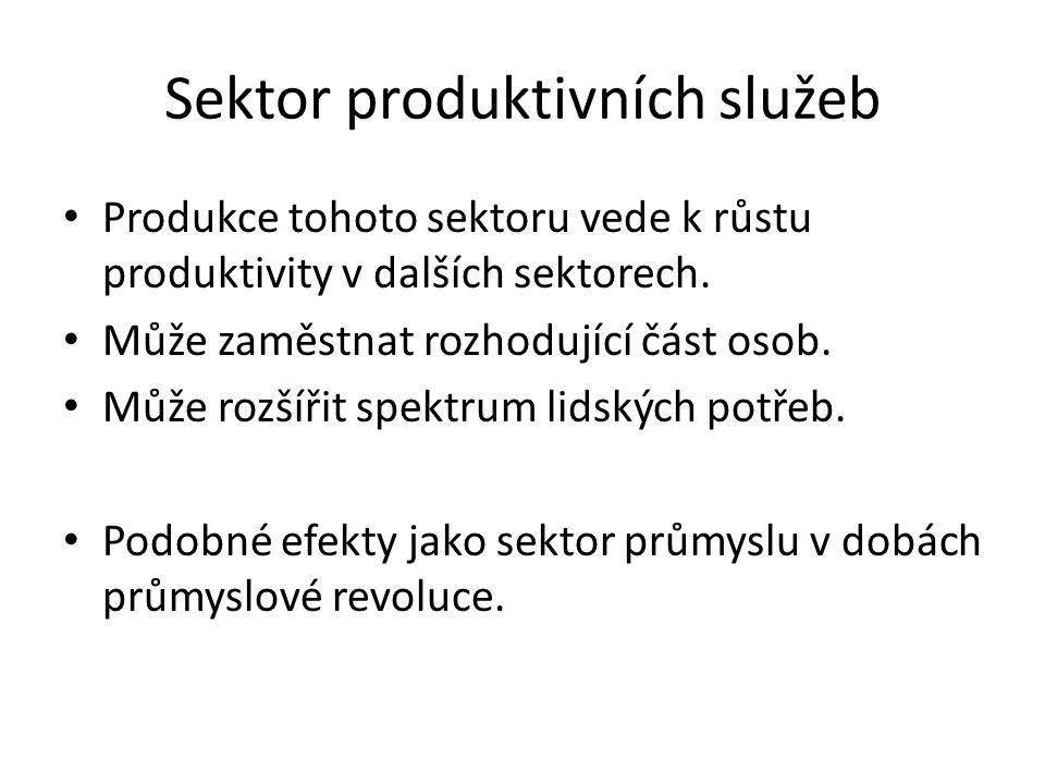 Sektor produktivních služeb Produkce tohoto sektoru vede k růstu produktivity v dalších sektorech.