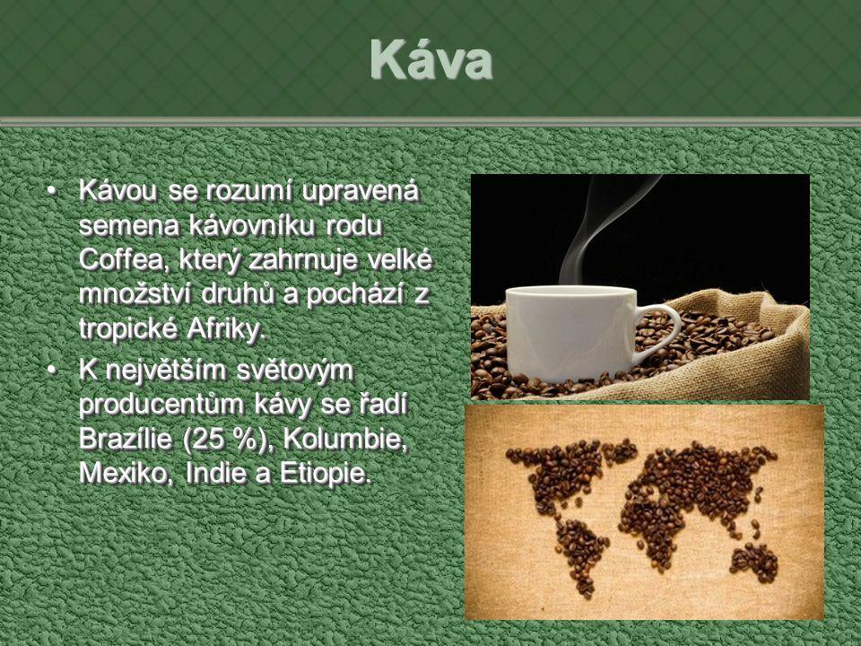Káva Kávou se rozumí upravená semena kávovníku rodu Coffea, který zahrnuje velké množství druhů a pochází z tropické Afriky.Kávou se rozumí upravená semena kávovníku rodu Coffea, který zahrnuje velké množství druhů a pochází z tropické Afriky.