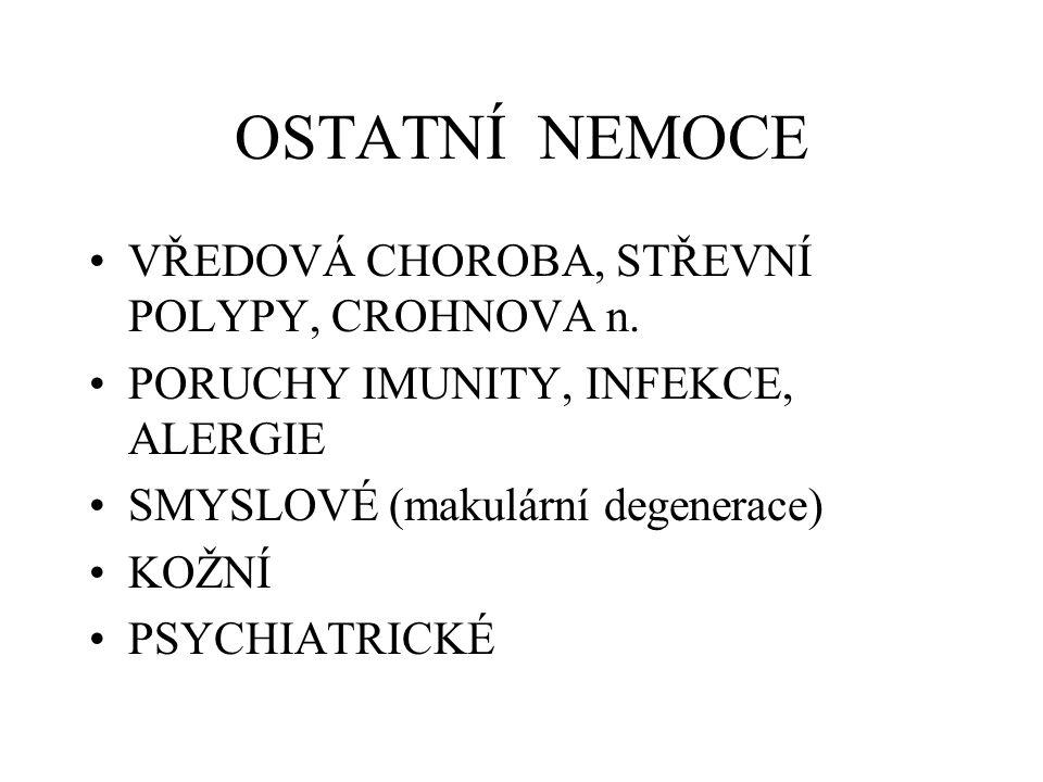 OSTATNÍ NEMOCE VŘEDOVÁ CHOROBA, STŘEVNÍ POLYPY, CROHNOVA n. PORUCHY IMUNITY, INFEKCE, ALERGIE SMYSLOVÉ (makulární degenerace) KOŽNÍ PSYCHIATRICKÉ
