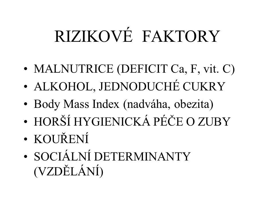 RIZIKOVÉ FAKTORY MALNUTRICE (DEFICIT Ca, F, vit. C) ALKOHOL, JEDNODUCHÉ CUKRY Body Mass Index (nadváha, obezita) HORŠÍ HYGIENICKÁ PÉČE O ZUBY KOUŘENÍ