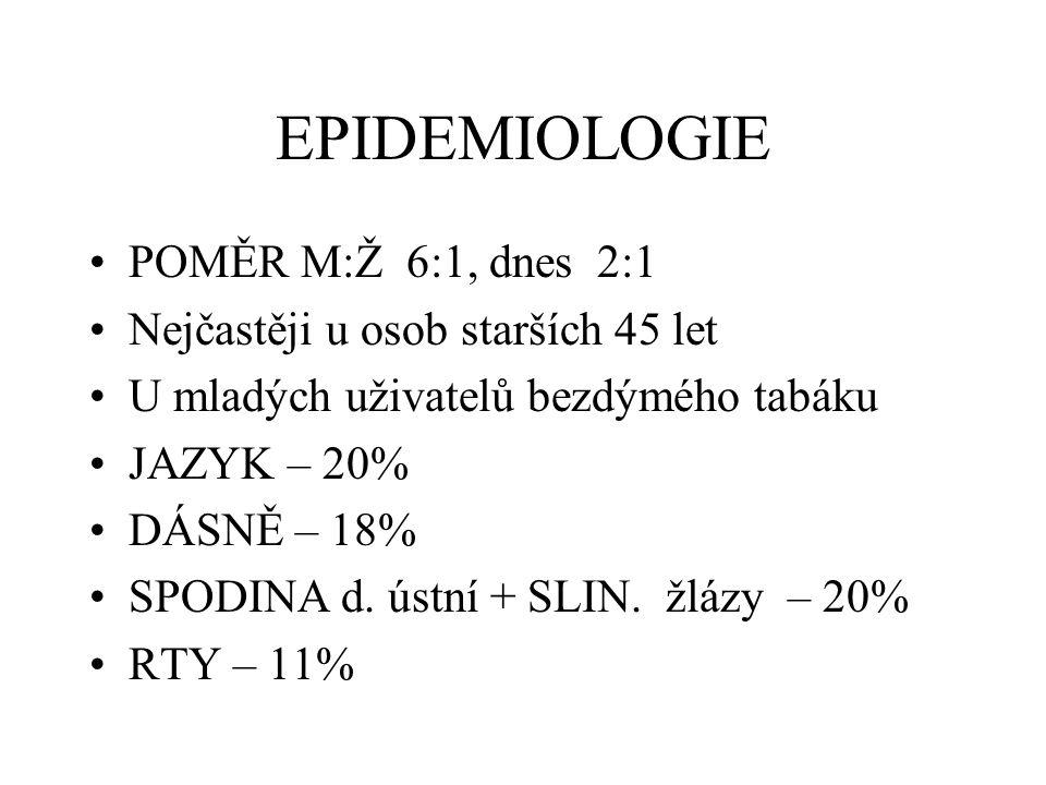 EPIDEMIOLOGIE POMĚR M:Ž 6:1, dnes 2:1 Nejčastěji u osob starších 45 let U mladých uživatelů bezdýmého tabáku JAZYK – 20% DÁSNĚ – 18% SPODINA d. ústní