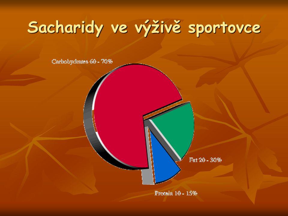 Shrnutí Intenzita 50 – 60 % VO 2 max – sacharidy hlavní zdroj energie Intenzita 50 – 60 % VO 2 max – sacharidy hlavní zdroj energie Vyčerpání, hypoglykémie - vyčerpání zásob sacharidů – při intenzitě 60 – 85 % VO 2 max po asi 2 – 3 hodinách (maratón, triatlon, vytrvalostní cyklistika) Vyčerpání, hypoglykémie - vyčerpání zásob sacharidů – při intenzitě 60 – 85 % VO 2 max po asi 2 – 3 hodinách (maratón, triatlon, vytrvalostní cyklistika) ↓ dostupnosti glykogenu => ↓ výkonnosti během supramaximálních výkonů (sprint, silový trénink) ↓ dostupnosti glykogenu => ↓ výkonnosti během supramaximálních výkonů (sprint, silový trénink)