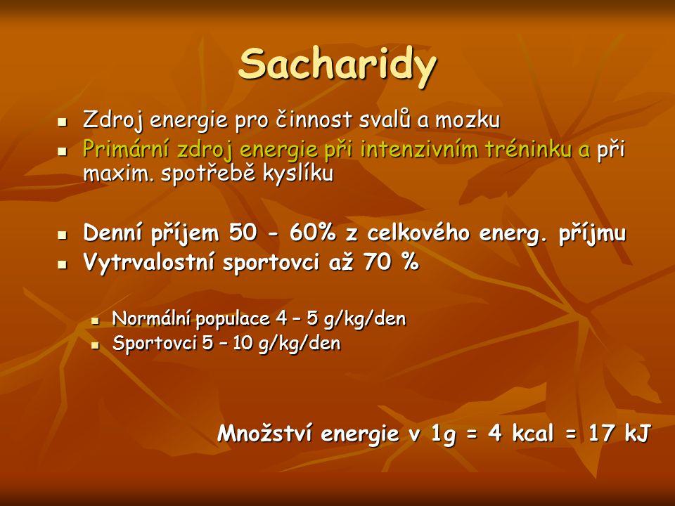 Příjem sacharidů před, při a po zátěži Časové obdobíMnožství sacharidů 3 – 4 hodiny před tréninkem200 – 350 g sacharidů pro maximalizaci glykogenových zásob na počátku cvičení a pro zlepšení výkonu (4 – 5 g/kg) 30 – 60 minut před tréninkem50 – 75 g sacharidů (1 – 2 g/kg) < 5 minut před tréninkem50 g (méně pro ženy) může zlepšit výkon bez přeplnění žaludku Během tréninkuVytrvalostní cvičení – 30 – 60 g sacharidů/hod.