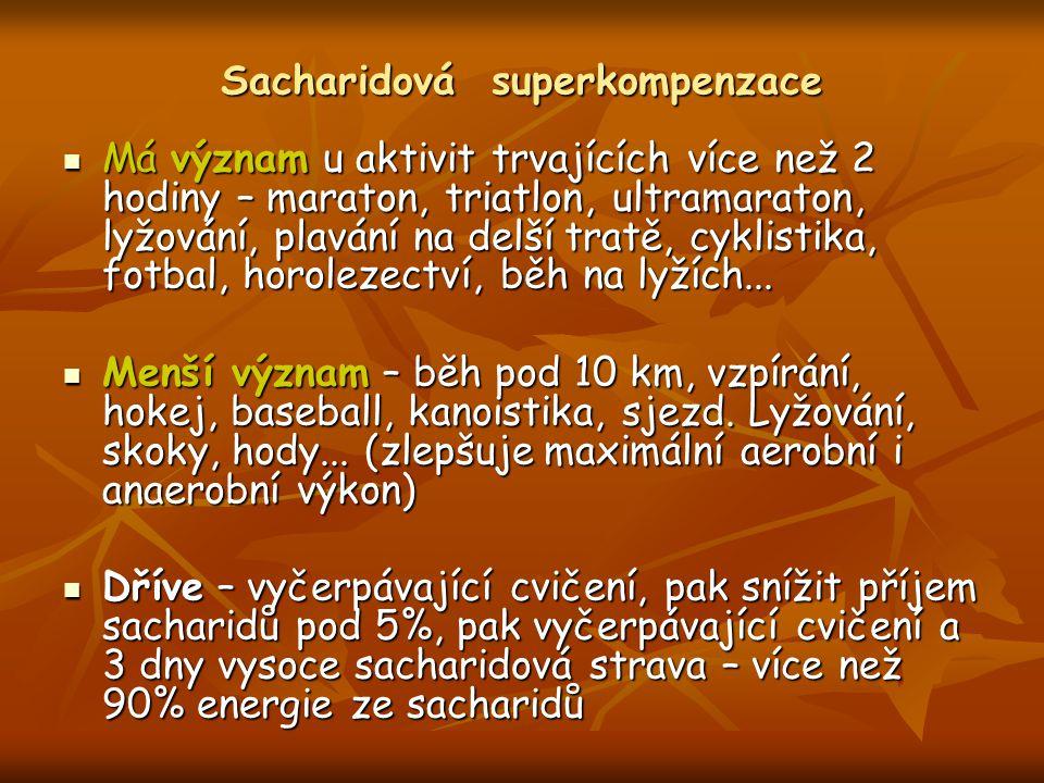 Sacharidová superkompenzace Má význam u aktivit trvajících více než 2 hodiny – maraton, triatlon, ultramaraton, lyžování, plavání na delší tratě, cykl
