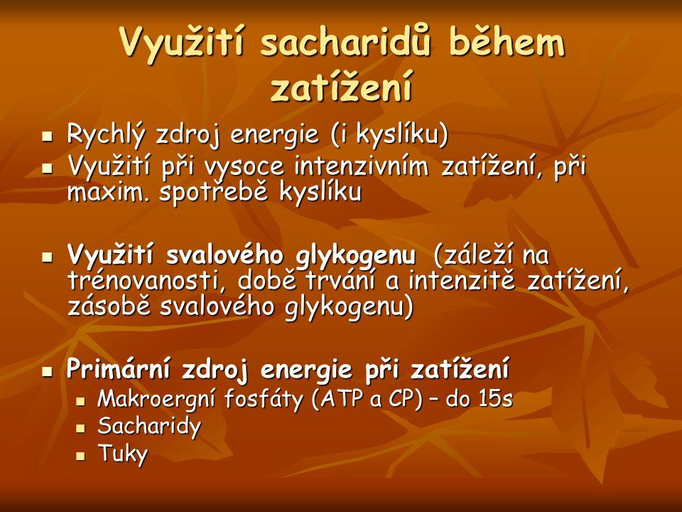 Využití sacharidů během zatížení Rychlý zdroj energie (i kyslíku) Rychlý zdroj energie (i kyslíku) Využití při vysoce intenzivním zatížení, při maxim.