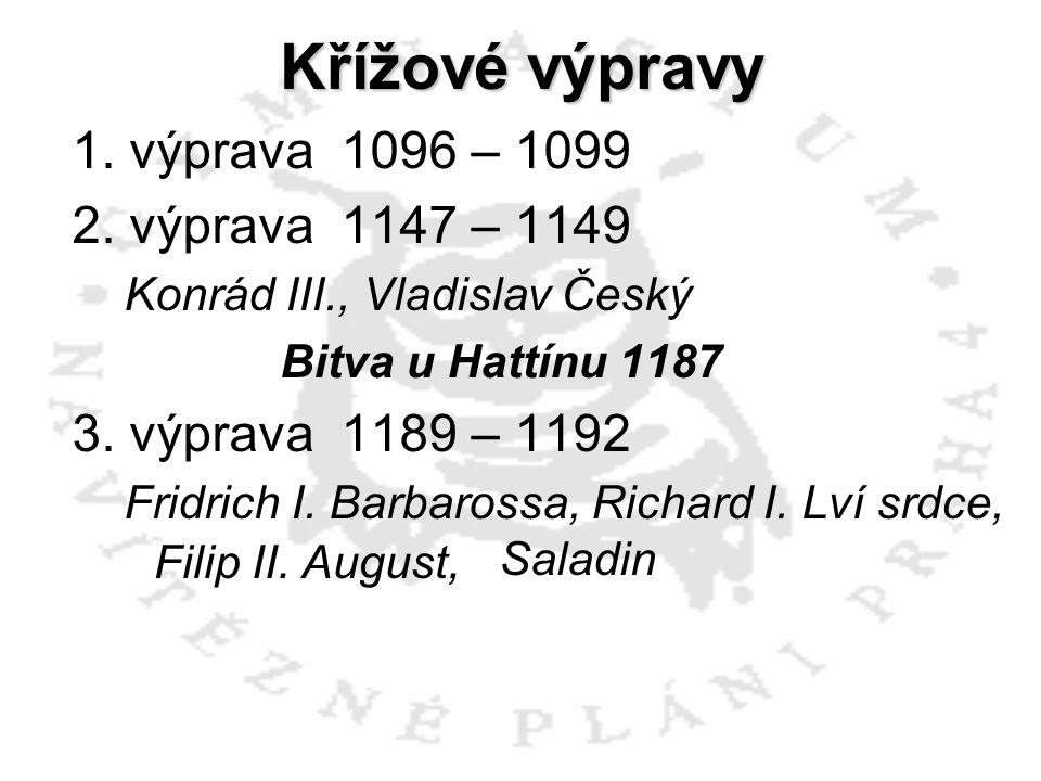 Křížové výpravy 1. výprava 1096 – 1099 2. výprava 1147 – 1149 Konrád III., Vladislav Český Bitva u Hattínu 1187 3. výprava 1189 – 1192 Fridrich I. Bar