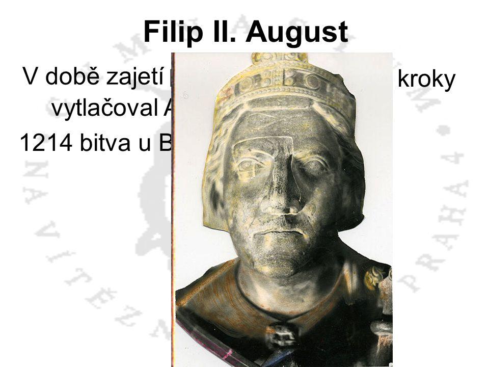 Filip II. August V době zajetí Richarda I. drobnými kroky vytlačoval Angličany z Francie. 1214 bitva u Bouvines