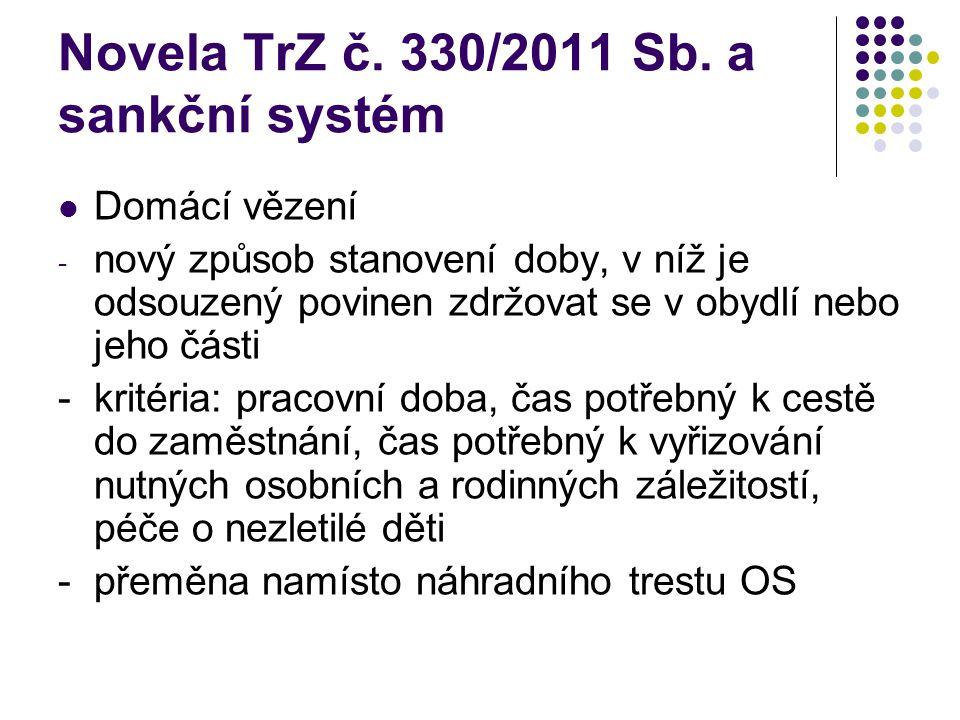 Novela TrZ č. 330/2011 Sb. a sankční systém Domácí vězení - nový způsob stanovení doby, v níž je odsouzený povinen zdržovat se v obydlí nebo jeho část