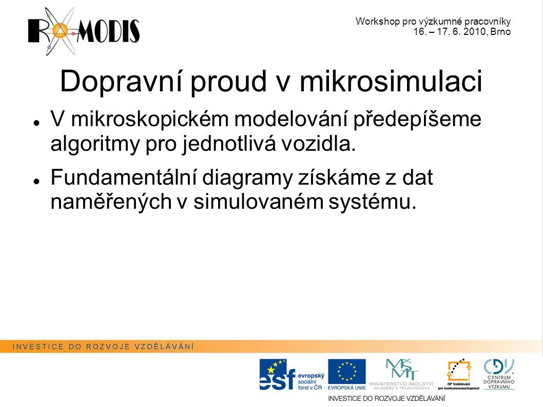 Workshop pro výzkumné pracovníky 16. – 17. 6. 2010, Brno Dopravní proud v mikrosimulaci V mikroskopickém modelování předepíšeme algoritmy pro jednotli