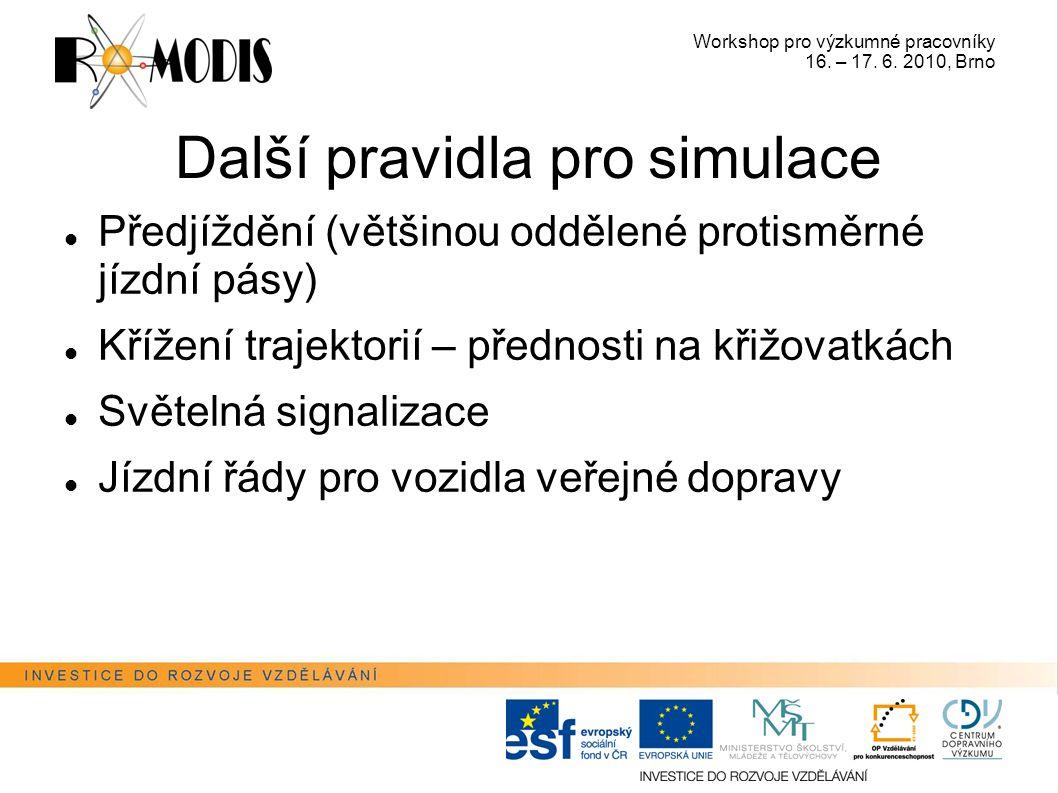 Workshop pro výzkumné pracovníky 16. – 17. 6. 2010, Brno Další pravidla pro simulace Předjíždění (většinou oddělené protisměrné jízdní pásy) Křížení t