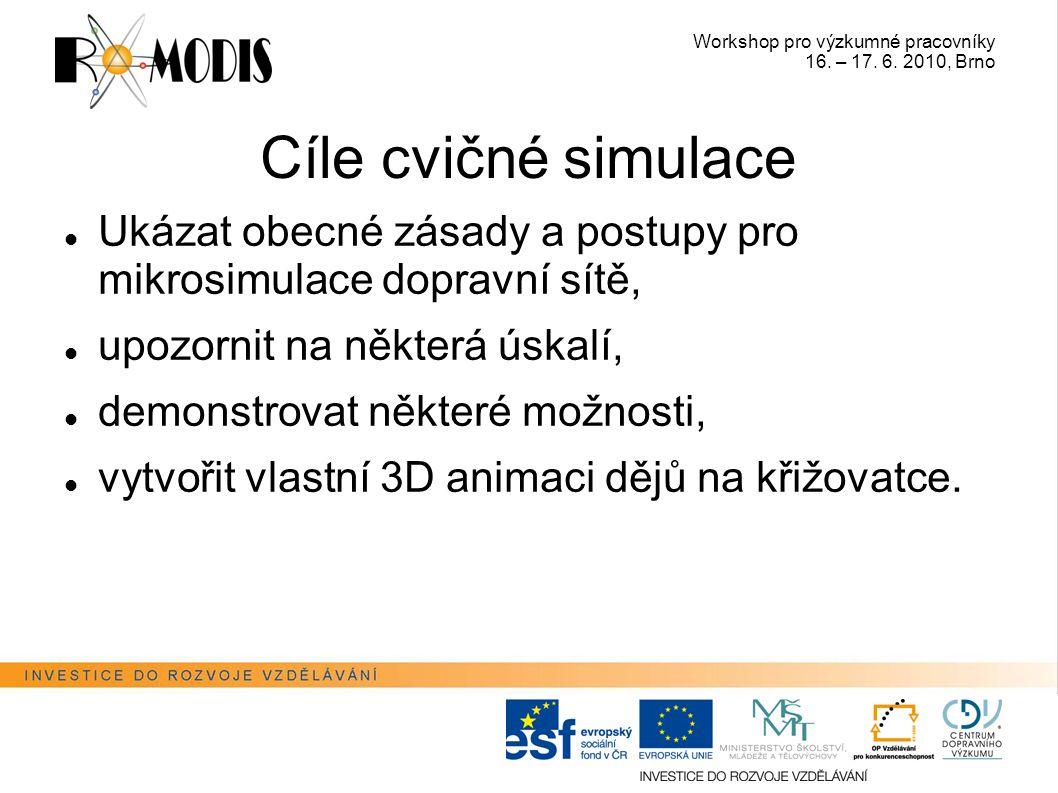 Workshop pro výzkumné pracovníky 16. – 17. 6. 2010, Brno Cíle cvičné simulace Ukázat obecné zásady a postupy pro mikrosimulace dopravní sítě, upozorni