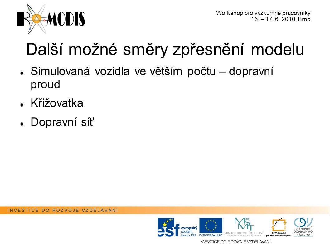 Workshop pro výzkumné pracovníky 16. – 17. 6. 2010, Brno Další možné směry zpřesnění modelu Simulovaná vozidla ve větším počtu – dopravní proud Křižov