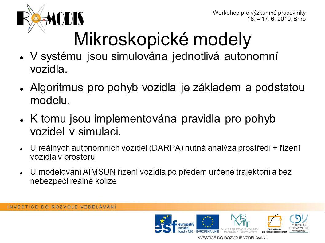 Workshop pro výzkumné pracovníky 16. – 17. 6. 2010, Brno Mikroskopické modely V systému jsou simulována jednotlivá autonomní vozidla. Algoritmus pro p