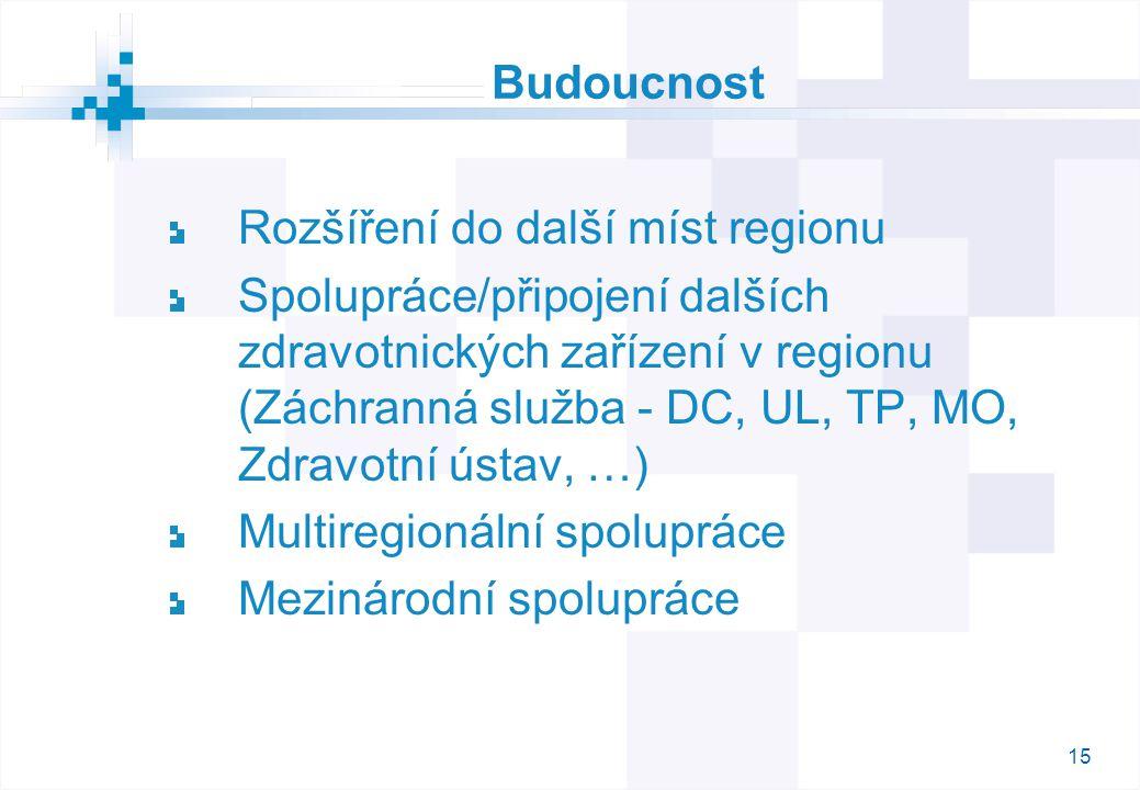15 Budoucnost Rozšíření do další míst regionu Spolupráce/připojení dalších zdravotnických zařízení v regionu (Záchranná služba - DC, UL, TP, MO, Zdravotní ústav, …) Multiregionální spolupráce Mezinárodní spolupráce