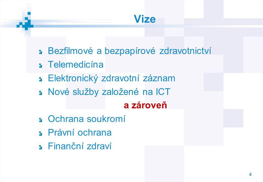 4 Vize Bezfilmové a bezpapírové zdravotnictví Telemedicína Elektronický zdravotní záznam Nové služby založené na ICT a zároveň Ochrana soukromí Právní ochrana Finanční zdraví