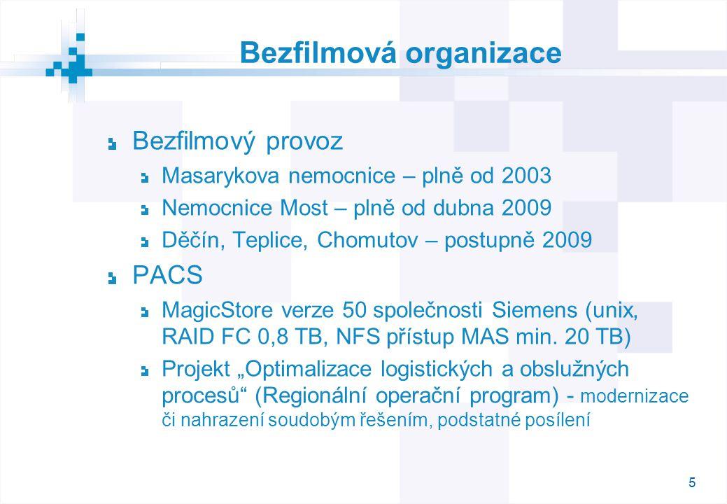 5 Bezfilmová organizace Bezfilmový provoz Masarykova nemocnice – plně od 2003 Nemocnice Most – plně od dubna 2009 Děčín, Teplice, Chomutov – postupně 2009 PACS MagicStore verze 50 společnosti Siemens (unix, RAID FC 0,8 TB, NFS přístup MAS min.