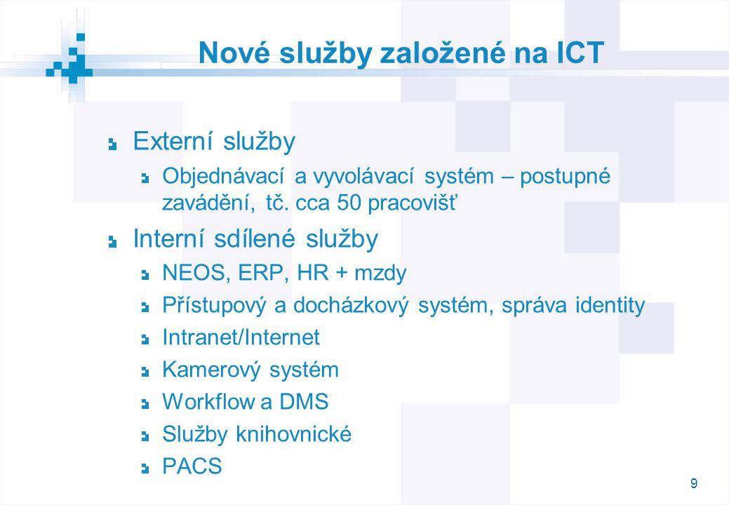 9 Nové služby založené na ICT Externí služby Objednávací a vyvolávací systém – postupné zavádění, tč.