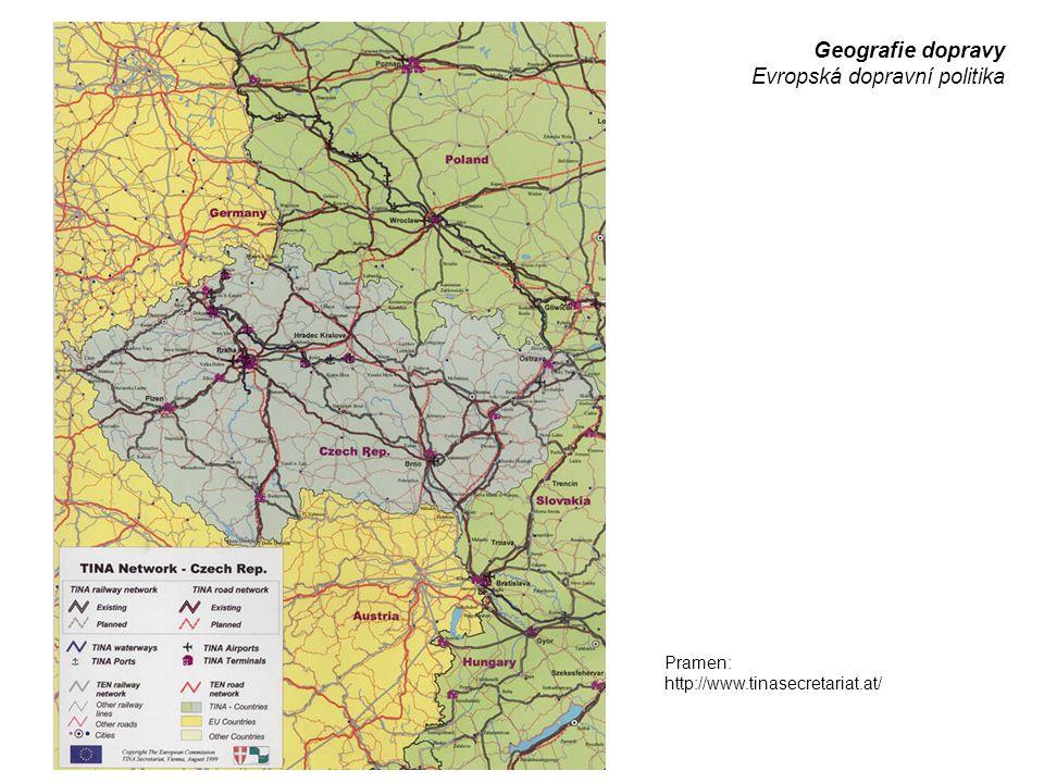 Geografie dopravy Evropská dopravní politika Pramen: http://www.tinasecretariat.at/