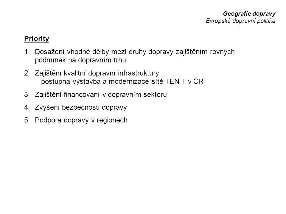 Geografie dopravy Evropská dopravní politika Priority 1.Dosažení vhodné dělby mezi druhy dopravy zajištěním rovných podmínek na dopravním trhu 2.Zajiš