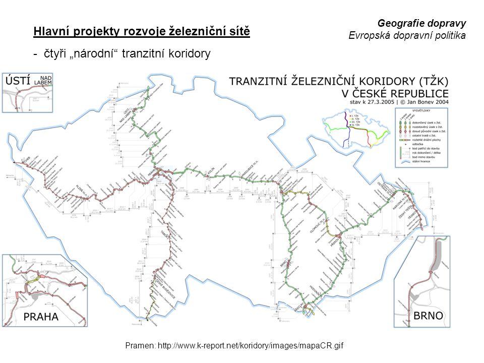 """Geografie dopravy Evropská dopravní politika Hlavní projekty rozvoje železniční sítě - čtyři """"národní"""" tranzitní koridory Pramen: http://www.k-report."""