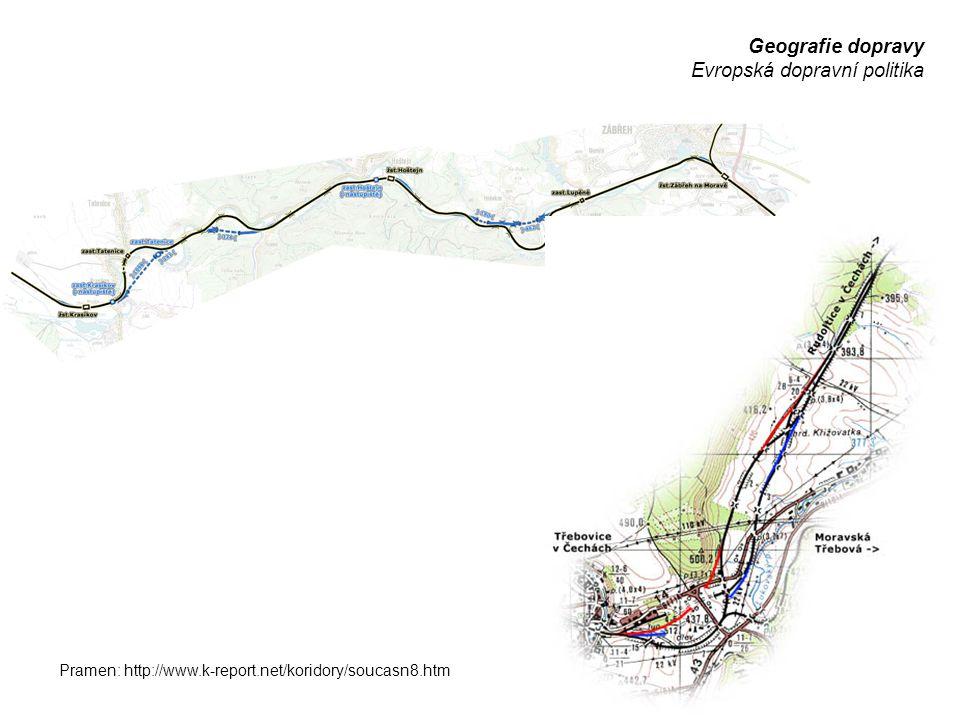 Geografie dopravy Evropská dopravní politika Pramen: http://www.k-report.net/koridory/soucasn8.htm