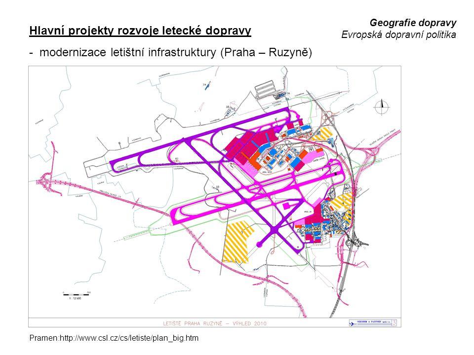 Geografie dopravy Evropská dopravní politika Hlavní projekty rozvoje letecké dopravy - modernizace letištní infrastruktury (Praha – Ruzyně) Pramen:htt