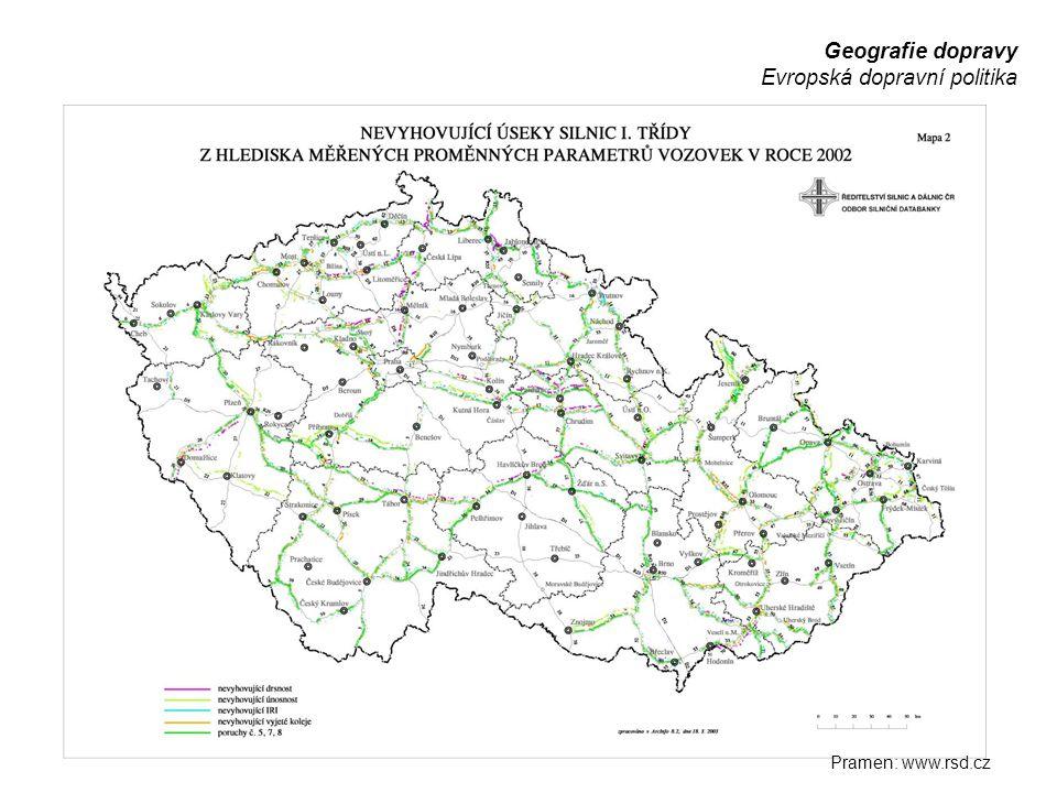 Geografie dopravy Evropská dopravní politika Pramen: www.rsd.cz