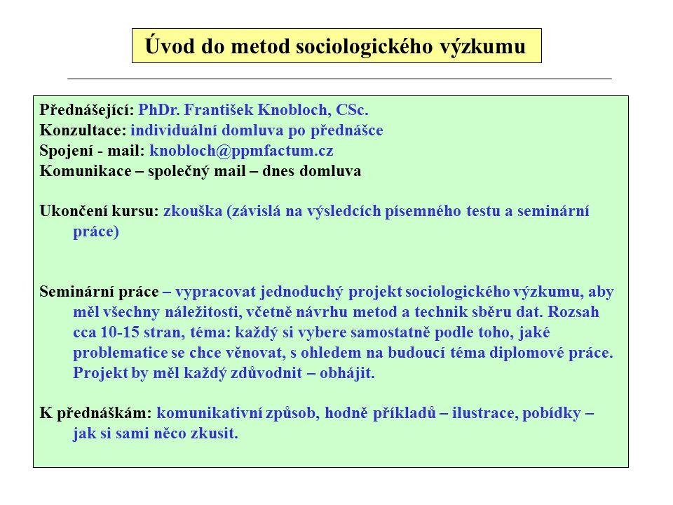 Úvod do metod sociologického výzkumu Přednášející: PhDr. František Knobloch, CSc. Konzultace: individuální domluva po přednášce Spojení - mail: knoblo