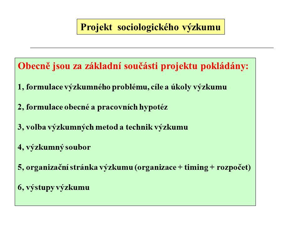 Projekt sociologického výzkumu Obecně jsou za základní součásti projektu pokládány: 1, formulace výzkumného problému, cíle a úkoly výzkumu 2, formulace obecné a pracovních hypotéz 3, volba výzkumných metod a technik výzkumu 4, výzkumný soubor 5, organizační stránka výzkumu (organizace + timing + rozpočet) 6, výstupy výzkumu