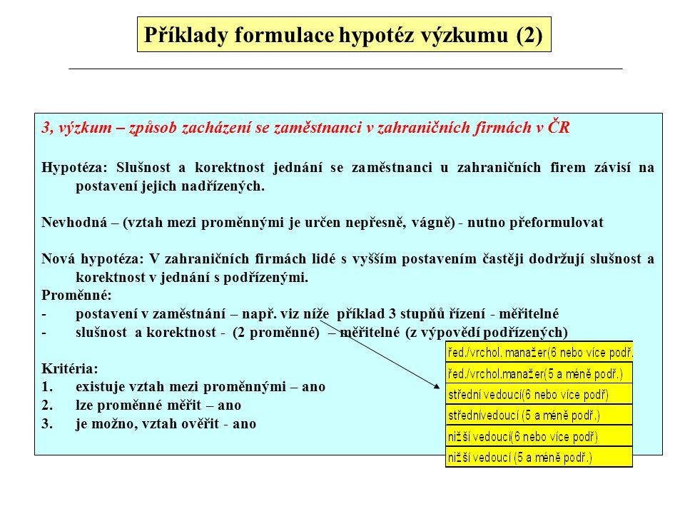 Příklady formulace hypotéz výzkumu (2) 3, výzkum – způsob zacházení se zaměstnanci v zahraničních firmách v ČR Hypotéza: Slušnost a korektnost jednání