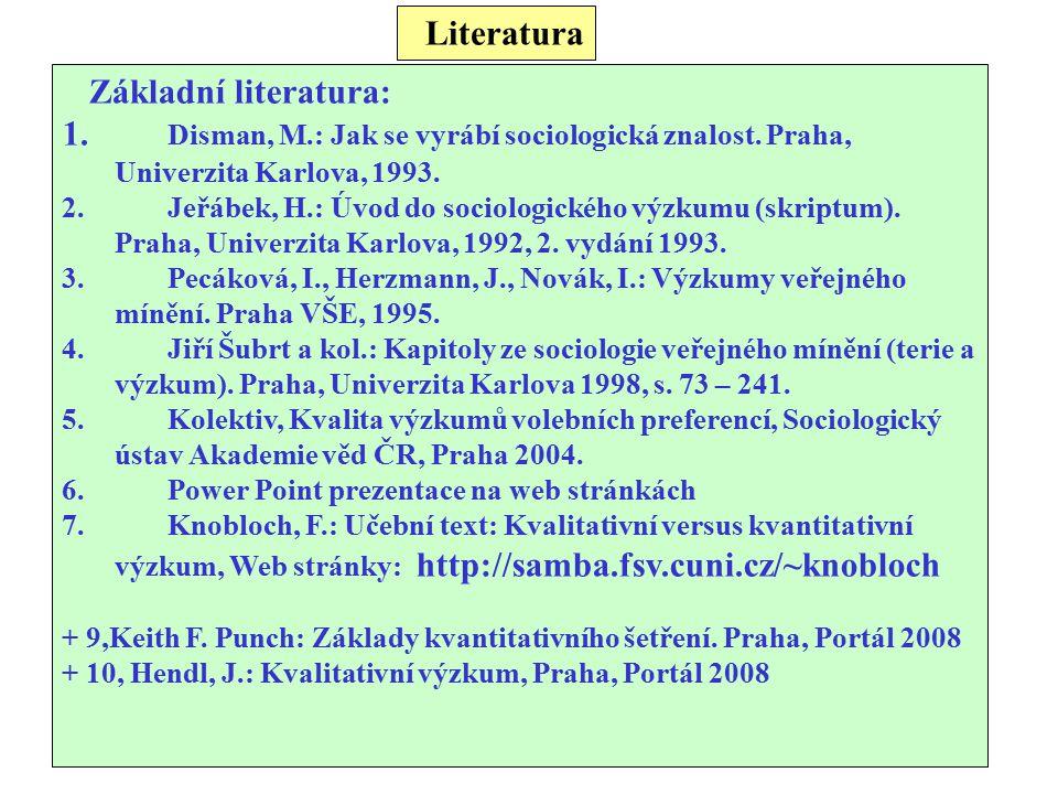 Literatura Základní literatura: 1. Disman, M.: Jak se vyrábí sociologická znalost. Praha, Univerzita Karlova, 1993. 2.Jeřábek, H.: Úvod do sociologick