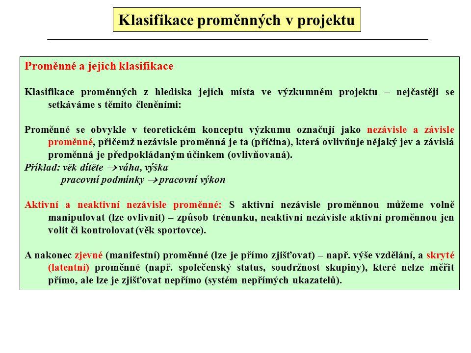 Klasifikace proměnných v projektu Proměnné a jejich klasifikace Klasifikace proměnných z hlediska jejich místa ve výzkumném projektu – nejčastěji se setkáváme s těmito členěními: Proměnné se obvykle v teoretickém konceptu výzkumu označují jako nezávisle a závisle proměnné, přičemž nezávisle proměnná je ta (příčina), která ovlivňuje nějaký jev a závislá proměnná je předpokládaným účinkem (ovlivňovaná).