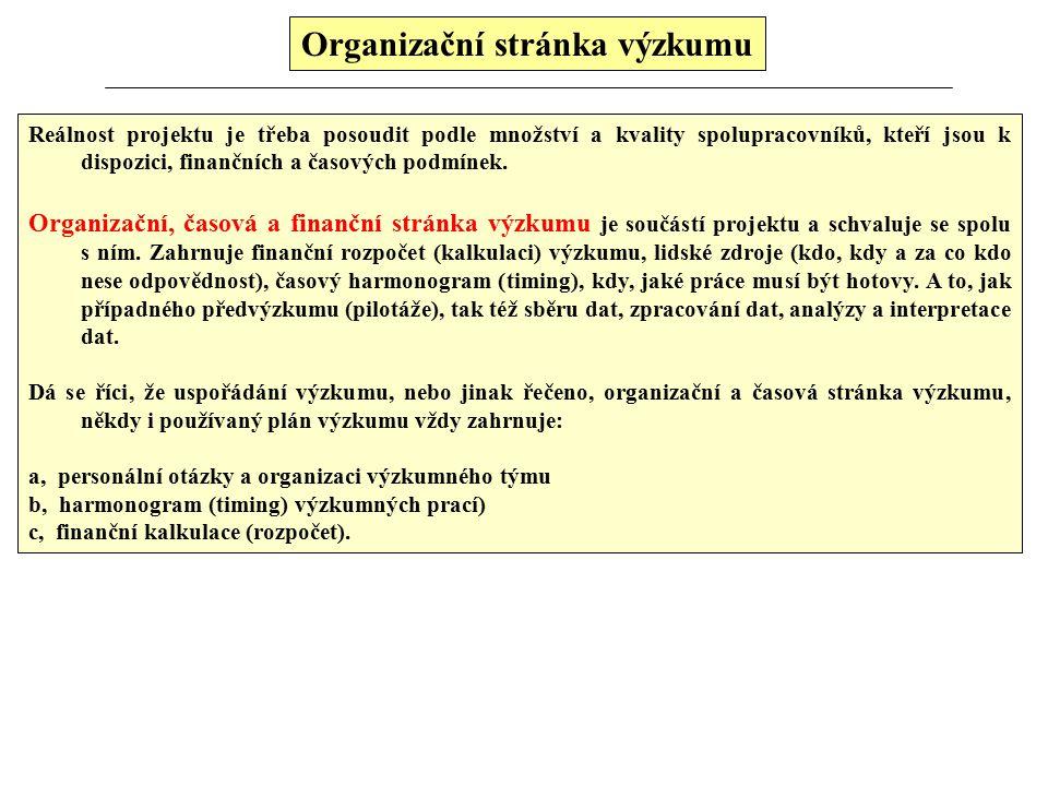 Organizační stránka výzkumu Reálnost projektu je třeba posoudit podle množství a kvality spolupracovníků, kteří jsou k dispozici, finančních a časových podmínek.
