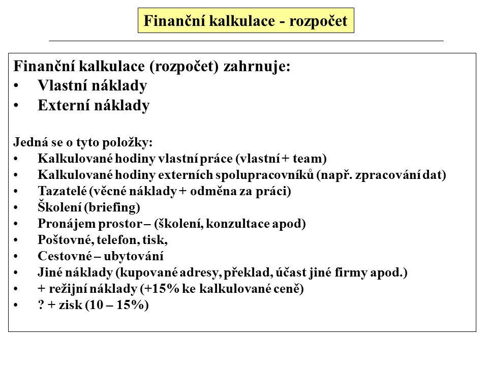 Finanční kalkulace - rozpočet Finanční kalkulace (rozpočet) zahrnuje: Vlastní náklady Externí náklady Jedná se o tyto položky: Kalkulované hodiny vlas