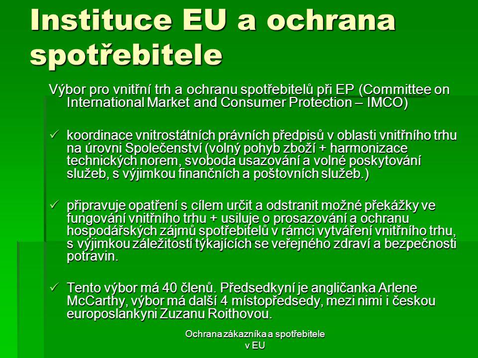 Ochrana zákazníka a spotřebitele v EU Instituce EU a ochrana spotřebitele Výbor pro vnitřní trh a ochranu spotřebitelů při EP (Committee on Internatio